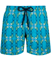 Men Classic Embroidered - Men Swimwear Embroidered Sweet Fishes - Limited Edition, Light azure front