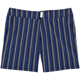 Men Fitted Printed - V Fish Fitted cut Swim shorts, Navy front