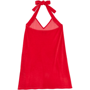 Women Others Solid - Women Terry cloth Halter Dress Solid, Red polish back