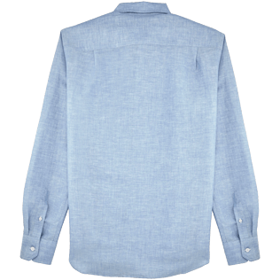 Men Shirts Graphic - Stripped Linen shirt, Jeans blue back