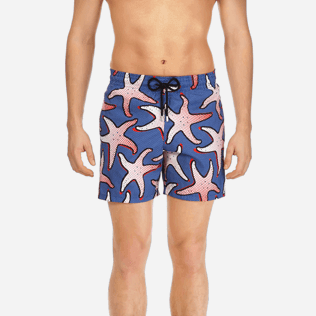 Men Classic / Moorea Printed - Men Lightweight and Packable Swimtrunks Starfish Art, Neptune blue supp1