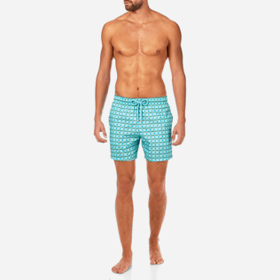 Men Ultra-light classique Printed - Les 4 Élements Lightweight Packable Swim shorts, Lagoon frontworn