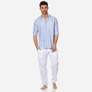 Men Others Graphic - Stripped Linen shirt, Sky blue supp3