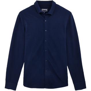 Men Others Solid - Men Cotton Pique Shirt Massimo Vitali, Navy front