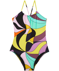 Girls Others Printed - Girls One-piece Swimsuit 1984 Invisible Fish, Black front