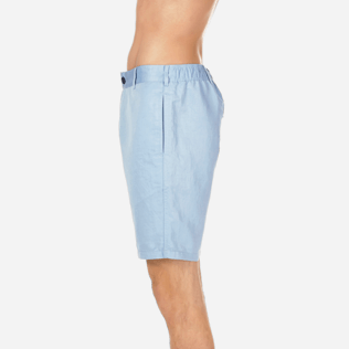 Men Others Solid - Men Straight Linen Cotton Bermuda Shorts Solid, Sky blue supp3