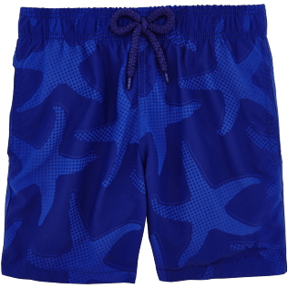 Boys Others Printed - Boys Water-Reactive Swimwear Starfish Art, Neptune blue frontworn
