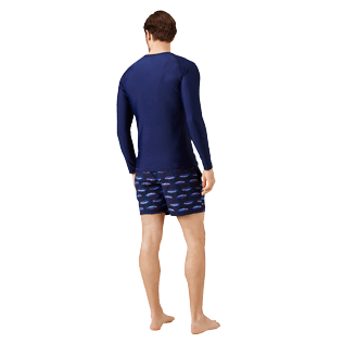 Men Others Solid - Unisex Long Sleeves Rashguards Solid, Navy backworn
