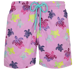 Men Classic / Moorea Embroidered - Men Swim Trunks Embroidered Ronde des Tortues Aquarelle - Limited Edition, Pink berries front
