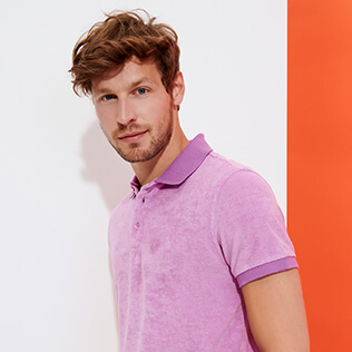 Men Others Solid - Men Terry cloth Polo Shirt Solid, Pink berries supp2