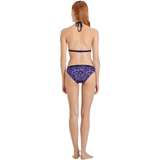 Women Classic brief Printed - Women Midi Brief Bikini Bottom Coral & Fish, Navy backworn