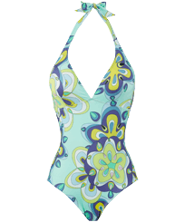 Women One piece Printed - Women Halter One-piece Swimsuit Kaleidoscope, Lagoon front