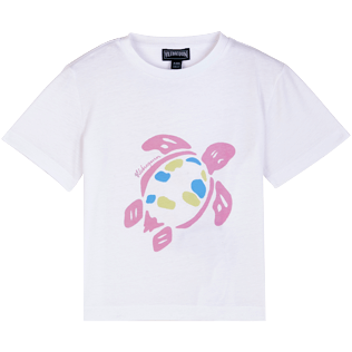 Others Printed - Kids Cotton T-Shirt Solid UV reactive, White frontworn