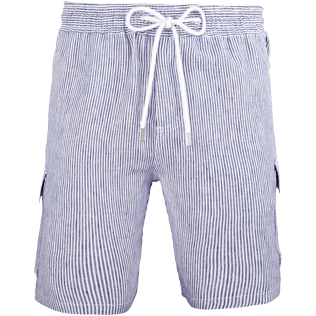 Men Others Graphic - Men Cargo Linen Bermuda Shorts Micro Stripes, Ultramarine front