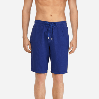 Men Others Solid - Men Italian Pockets Linen Bermuda Shorts Solid, Neptune blue supp1