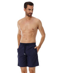 Men Long classic Solid - Solid Long Cut Swim shorts, Navy frontworn
