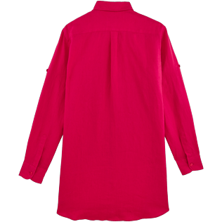 Women Others Solid - Women Long Linen Shirt Solid, Gooseberry red back