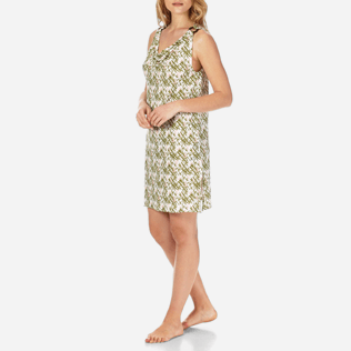Women Dresses Printed - Women Cowl neck Linen Jersey Dress Bamboo Song, Peony frontworn