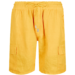 Men Others Solid - Men Cargo Linen Bermuda Shorts Solid, Curry front