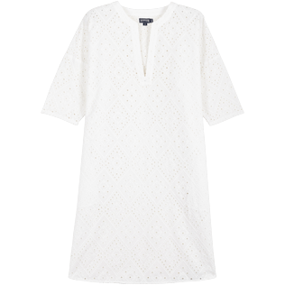 Women 052 Embroidered - Women Short Cotton Tunic Dress Eyelet Embroidery, White front