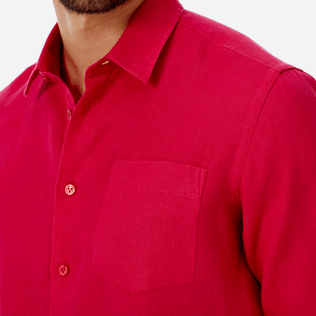 Men Others Solid - Men Linen Shirt Solid, Gooseberry red supp1