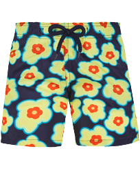 Boys Others Printed - Boys Swim Trunks Ultra-light and packable 1981 Flower Turtles, Sapphire front