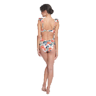 Women Underwire Printed - Women One piece Swimsuit Tropical Blooms, White backworn