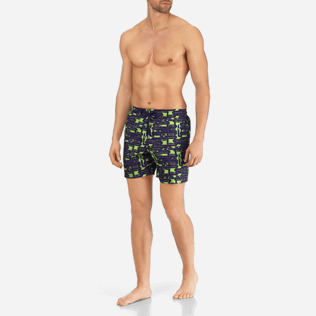Men Classic / Moorea Printed - Men Lightweight and Packable Swimtrunks Eels Knitting, Wasabi frontworn