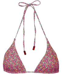Women Triangle Printed - Women Triangle Bikini Top Indian Ceramic, Pink berries front