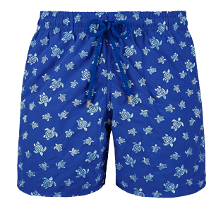 Men Embroidered Embroidered - Men Swimtrunks Embroidered Micro ronde des tortues - Limited Edition, Neptune blue front