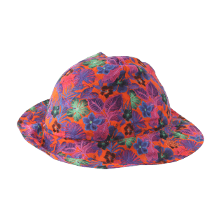 Others Printed - Kids Cotton Voile Hat Porto Rico, Bright orange back