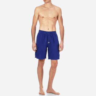 Men Others Solid - Men Cargo Linen Bermuda Shorts Solid, Ultramarine frontworn