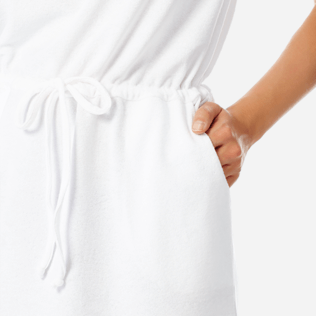Women Others Solid - Women Short terry cloth Dress Solid, White supp1