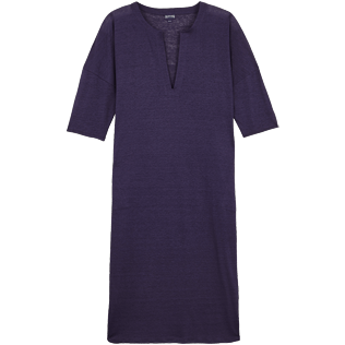 Women Others Solid - Women Linen Beach Cover-up Solid, Midnight blue front