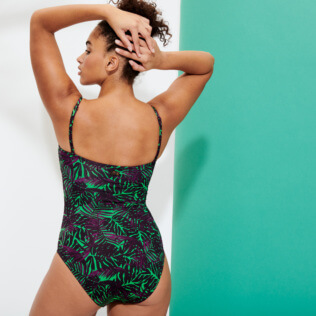 Women One piece Printed - Women Bustier One-piece Swimsuit Madrague, Grass green backworn