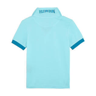 Boys Others Solid - Boys Cotton Pique Polo Shirt Solid, Aquamarine back