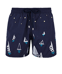 Men 017 Embroidered - Men Embroidered swimwear Porto Cervo - Limited Edition, Navy front