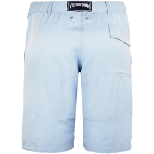 Men Others Solid - Men Straight Linen Cotton Bermuda Shorts Solid, Sky blue back