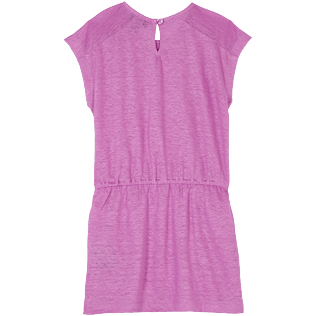 Girls Others Solid - Girls Linen Dress Solid, Pink berries back