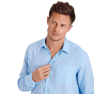Men Others Solid - Men Linen Shirt Solid, Sky blue supp1