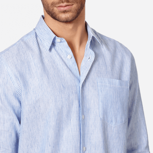 Men Others Graphic - Stripped Linen shirt, Sky blue supp1