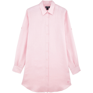 Women 111 Solid - Women Long Linen Shirt Solid, Peony front