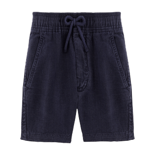 Boys Others Solid - Boys Linen Bermuda Shorts Solid, Navy front
