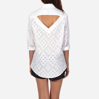 Women Others Embroidered - Women Halter Cotton Shirt Eyelet Embroidery, White supp6