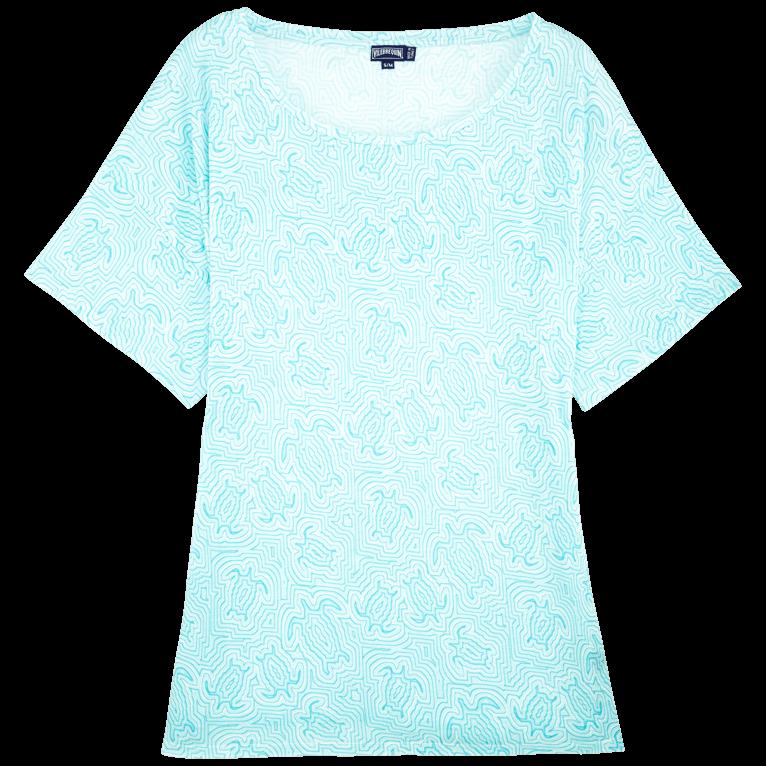 Women Ready to Wear - Women Tencel Jersey Oversize T-shirt Dress Hypnotic Turtles - TEE SHIRT - FEUILLE - Blue - L/XL - Vilebrequin Vilebrequin nhHE5lS