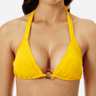 Women Triangle Solid - Women triangle bikini Top Ecailles de Tortue, Mango supp1