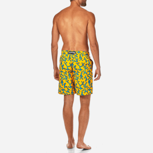Men Long classic Printed - Danse du Feu Long Cut Swim shorts, Turmeric backworn