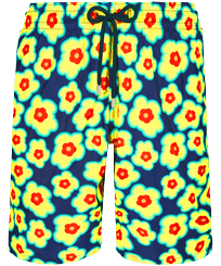 Men Long classic Printed - Men Swim Trunks Long 1981 Flower Turtles, Sapphire front