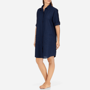 Women Dresses Solid - Indigo Long Linen Shirt, Indigo backworn