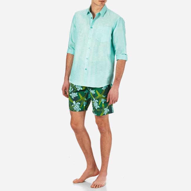 Vilebrequin - Camisa en lino de algodón liso para hombre - 3